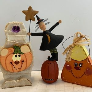 Wood Halloween Decorations Mummy Witch candy corn